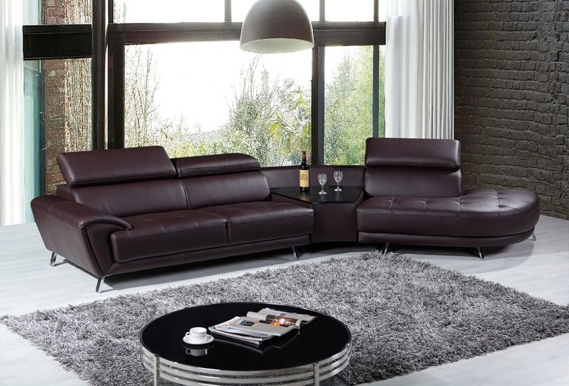 Divani Casa Raizel Modern Brown Leather Sectional with Right Facing Chaise