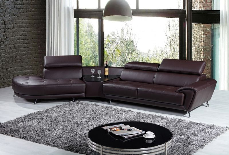 Divani Casa Raizel Modern Brown Leather Sectional with Left Facing Chaise