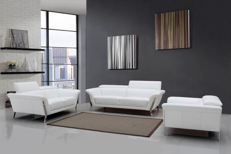 Divani Casa Ronen Modern White Leather Sofa Set