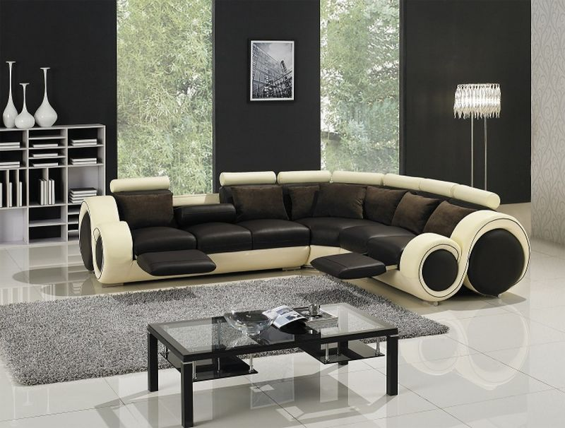 Divani Casa Modern Brown and Cream Leather Sectional