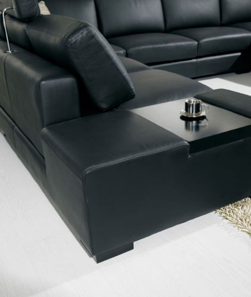 Vig Vgyit35 2hl Divani Casa Modern Black Leather Sectional With