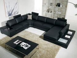 Divani Casa Modern Black Leather Sectional with Light