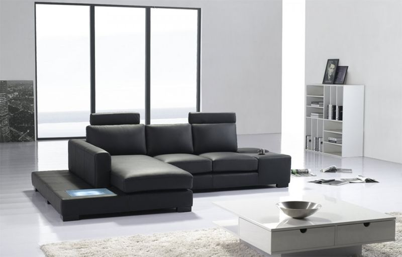 Divani Casa Mini Modern Black Leather Sectional with Light