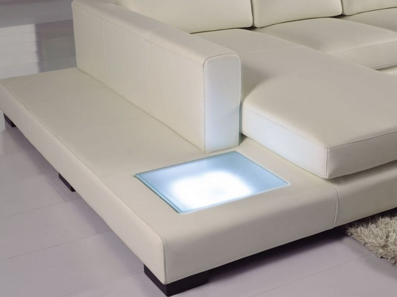 Divani Casa Mini Modern White Leather Sectional with Light