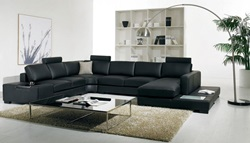 Divani Casa Modern Black Sectional with Light
