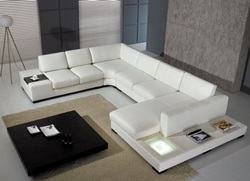 Divani Casa Modern White Sectional with Light