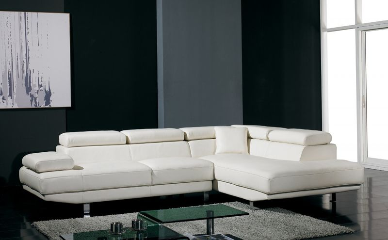 Divani Casa Modern White Leather Sectional