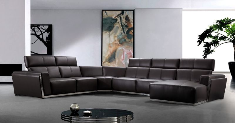 Divani Casa Tempo Brown Leather Sectional