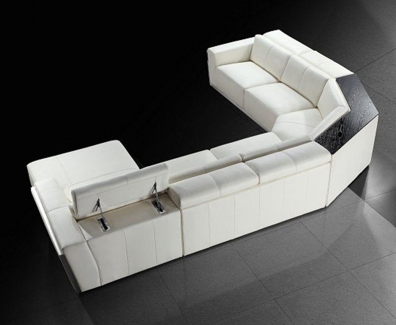 Divani Casa Tempo White Leather Sectional