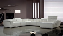 Divani Casa Tempo White Leather Sectional