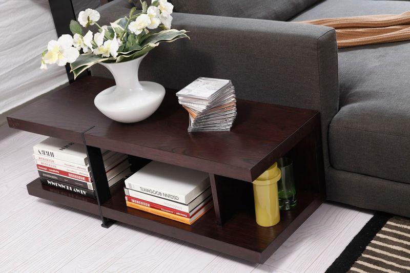 Divani Casa Tivoli Modern Grey Sectional with Shelves/Desk