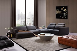 Divani Casa Tivoli Modern Grey Sectional with Shelves/Desk