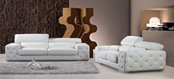 Divani Casa Modern Tufted Leather Sofa Set