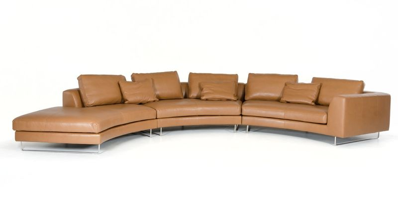 Divani Casa Tulip Modern Camel Leather Sectional Sofa