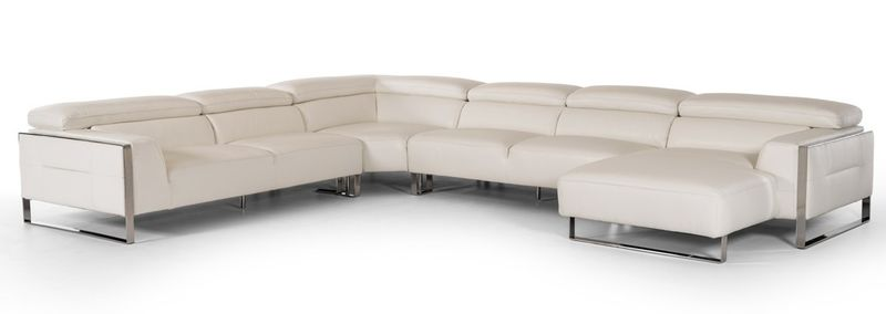 Divani Casa Tupelo Modern White Leather Sectional