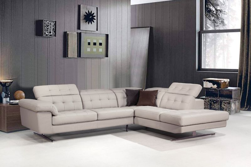 Divani Casa Veneto Modern Grey Italian Leather Sectional