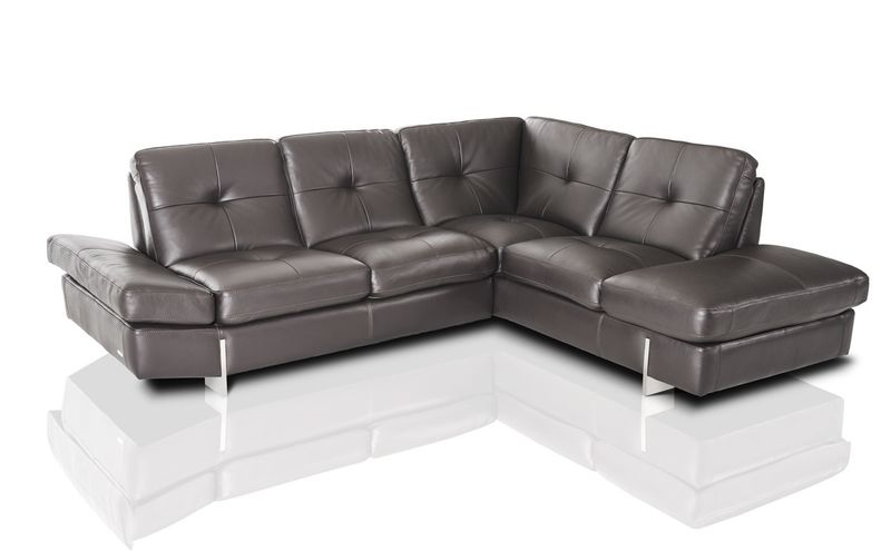 Divani Casa Vincenza Modern Grey Leather Sectional