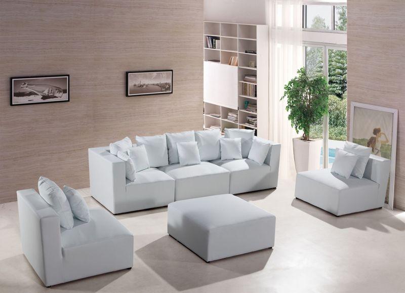 Divani Casa Modern White Modular Sectional