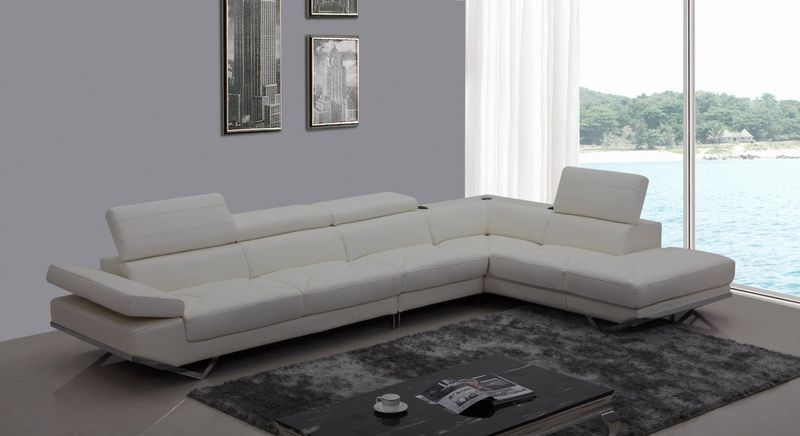 Divani Casa Modern White Sectional with Audio System