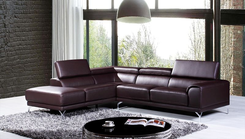 Divani Casa Wisteria Modern Brown Leather Sectional with Left Facing Chaise