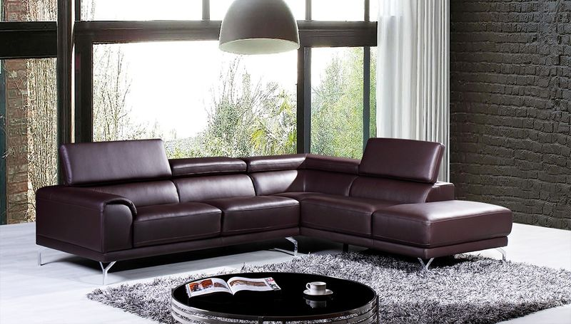 Divani Casa Wisteria Modern Brown Leather Sectional with Right Facing Chaise