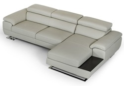 Estro Salotti Invictus Modern Grey Leather Sectional Sofa
