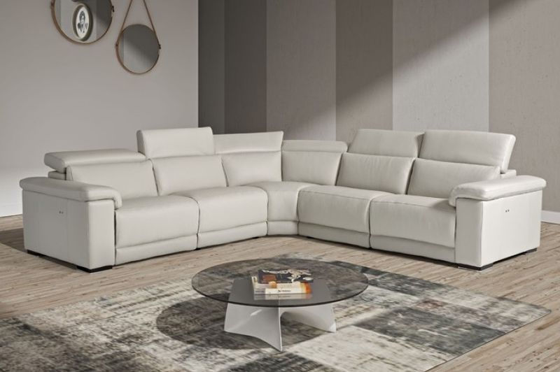 Estro Salotti Palinuro Modern Grey Leather Sectional