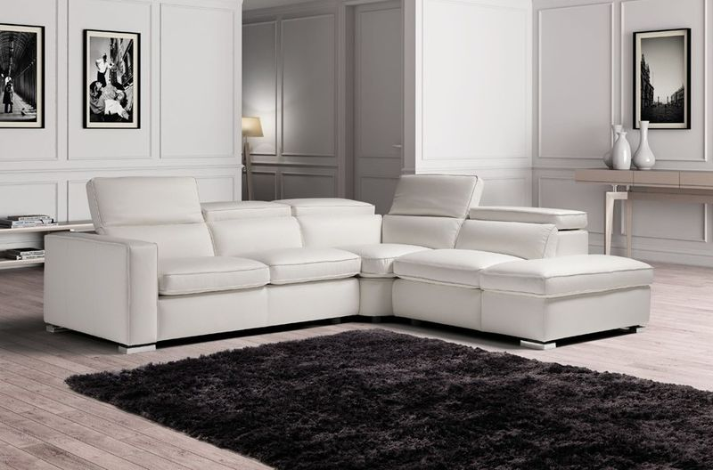 Estro Salotti Vertigo Modern Grey Leather Sectional with Storage
