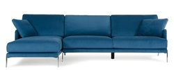 David Ferrari Achen Modern Blue Velvet Sectional Sofa