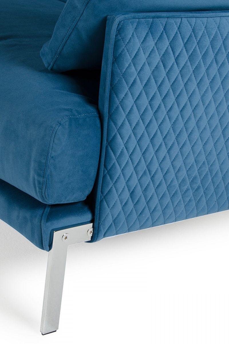 Dallas Designer Furniture Lusso Achen Modern Blue Velvet  ~ Blue Velvet Sectional Sofa