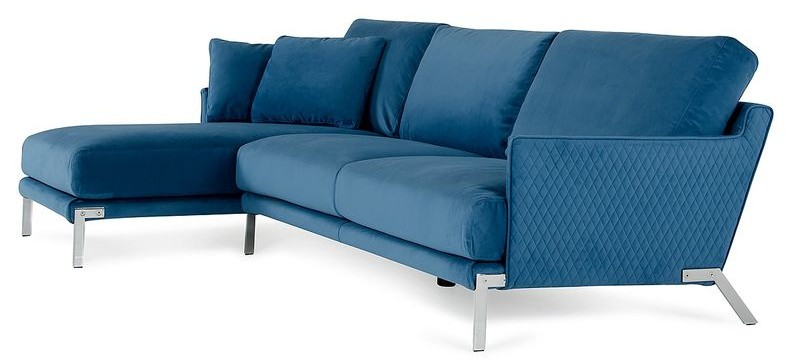 Lusso Achen Modern Blue Velvet Sectional Sofa