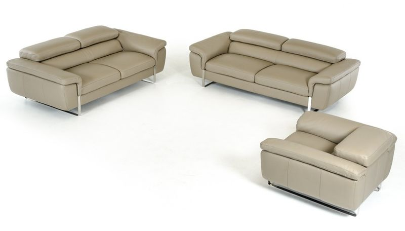 Lusso Highline Italian Modern Grey Leather Sofa Set