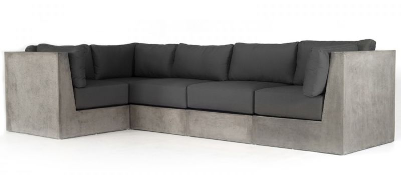 Modrest Indigo Contemporary Grey Concrete Sectional