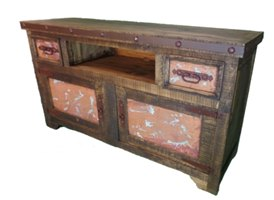 Veronica Rustic TV Stand with Copper Panels