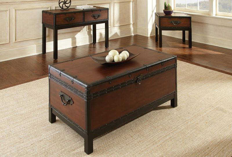 Dallas Designer Furniture Voyage Trunk Coffee Table Set