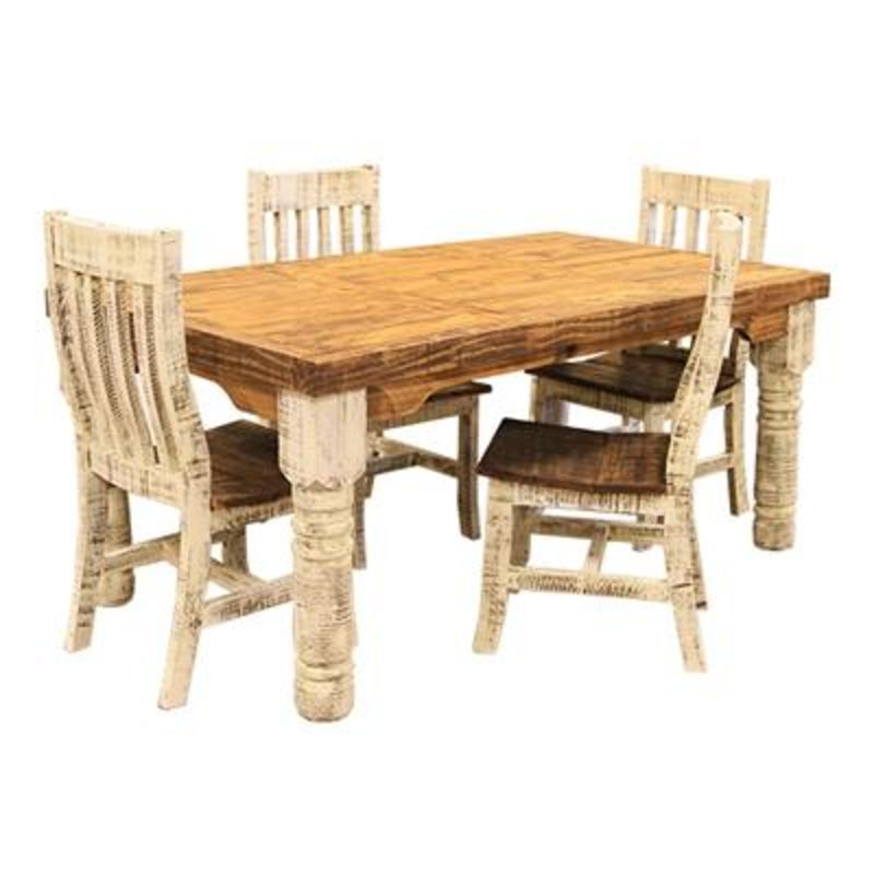 White Washed Rustic Dining Room Set