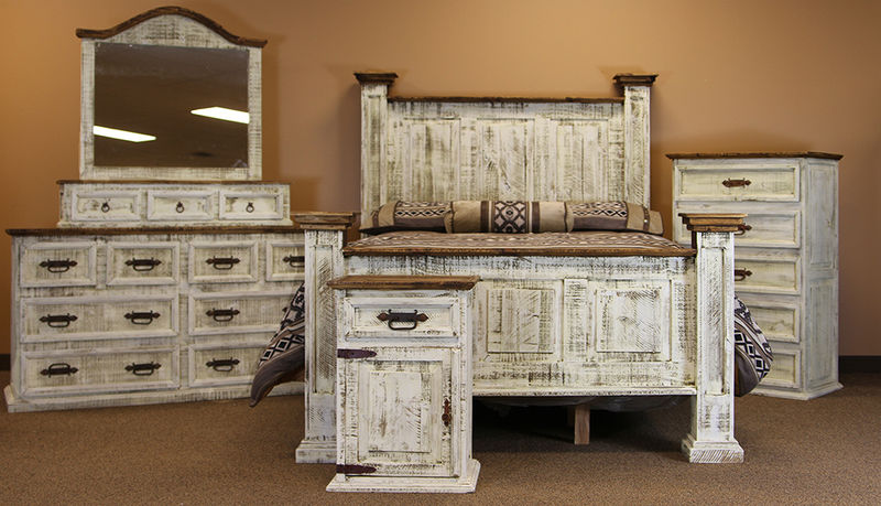 Dallas Designer Furniture | White Washed Rustic Bedroom Set