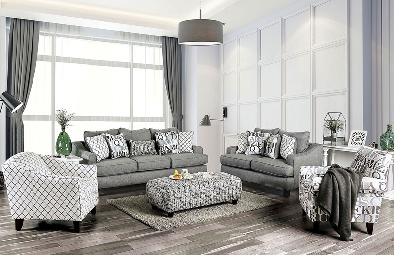 Verne Living Room Set in Bluish Gray